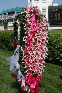 Kentucky Oaks 136 winner's garland of stargazer lilies