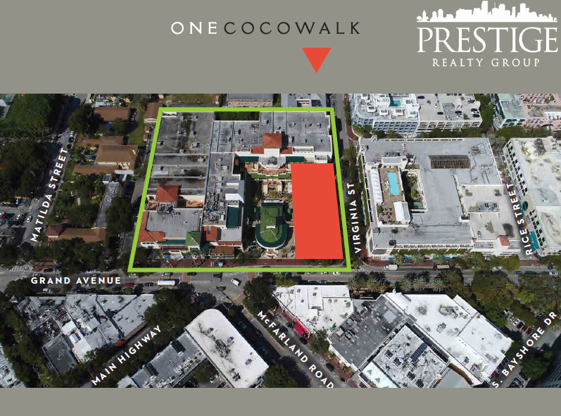One Cocowalk Aerial View - New Coconut Grove Offices - Miami Real Estate - Prestige Realty Group