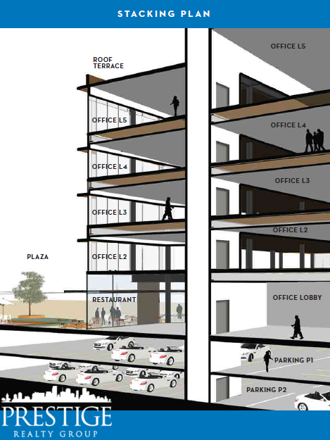One Cocowalk Stacking Plan - New Coconut Grove Offices - Miami, FL - Prestige Realty Group