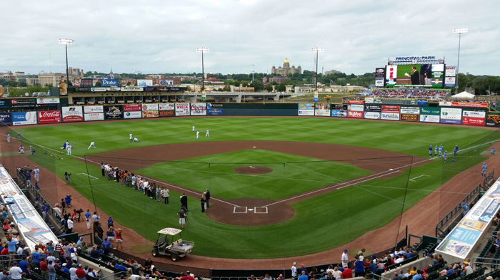 Iowa Cubs baseball in downtown Des Moines