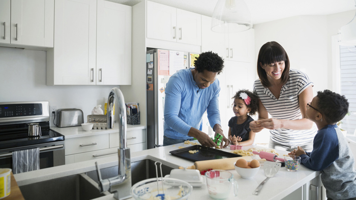family at home in their Altoona kitchen