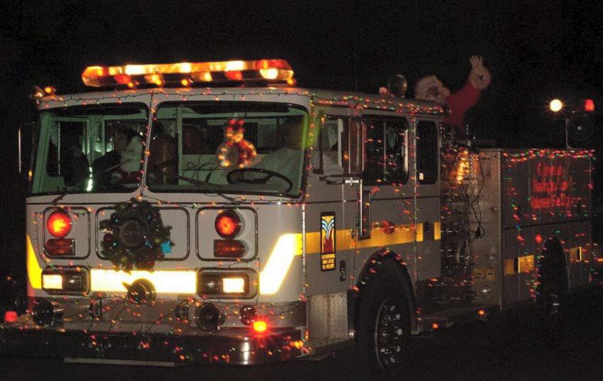 santa on a firetruck