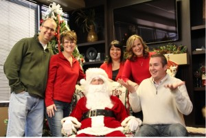 Evelo Team having fun cookies with santa