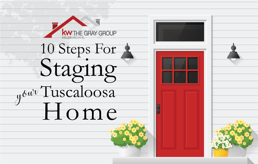 """Illustration with the caption """"10 Steps for Staging Your Tuscaloosa Home"""""""