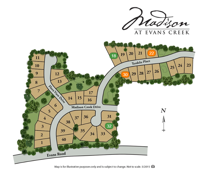 madison at evans creek new home sitemap