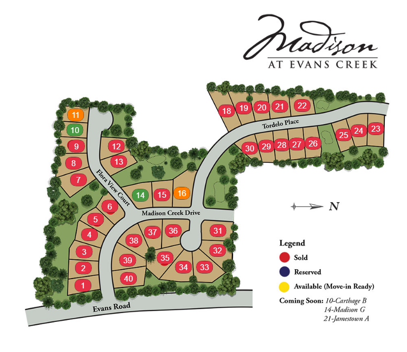 madison at evans creek new homes sitemap in apex