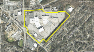 Aerial shot of Epic Game's future headquarters at Cary Towne Center.