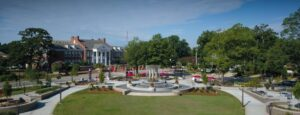Downtown Cary, NC featuring Cary Art Center and park.