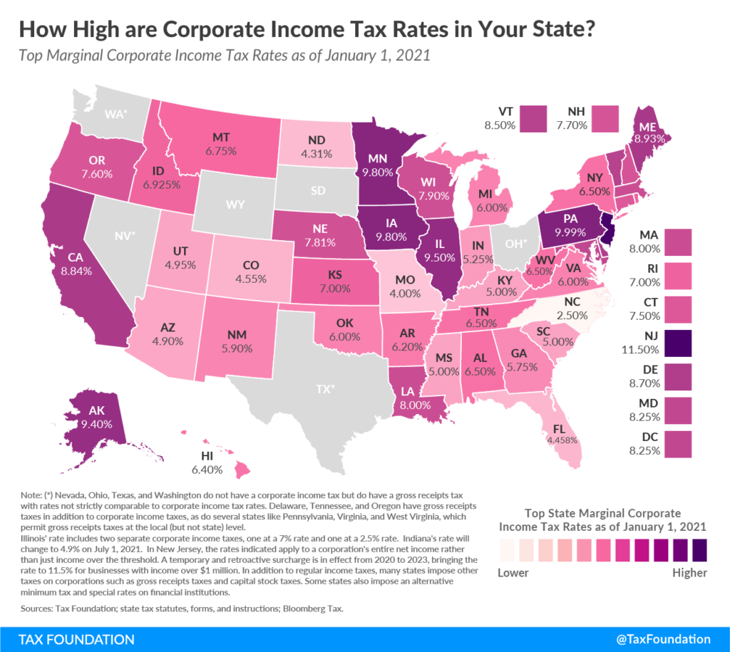 How High are Corporate Income Tax Rate in Your State?