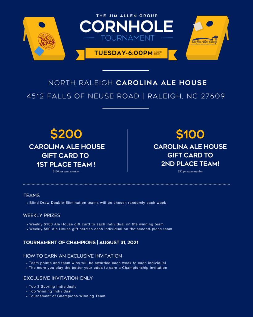 Carolina Ale House and Jim Allen Group Cornhole Tournament 2021