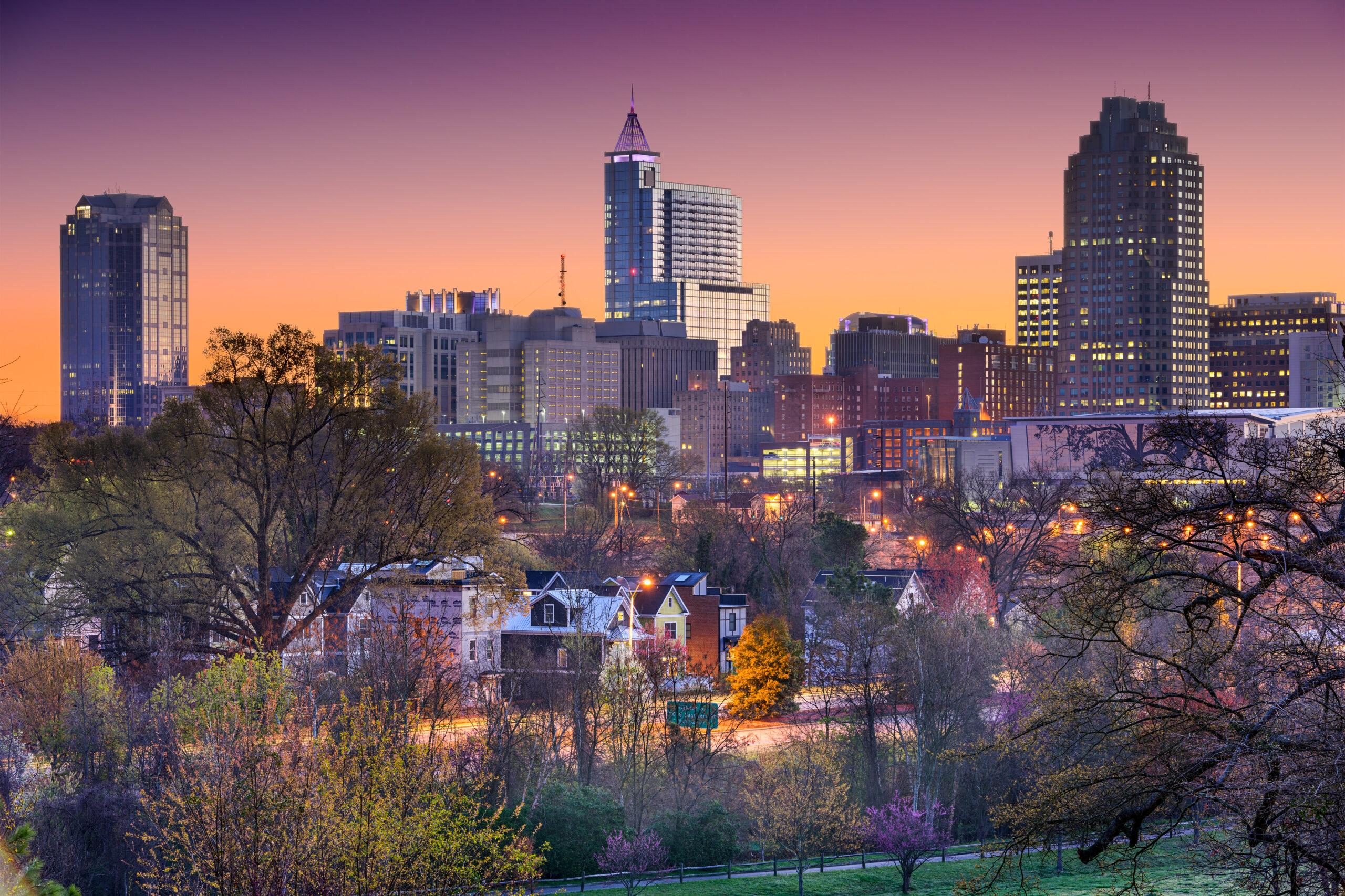 Raleigh, North Carolina skyline.