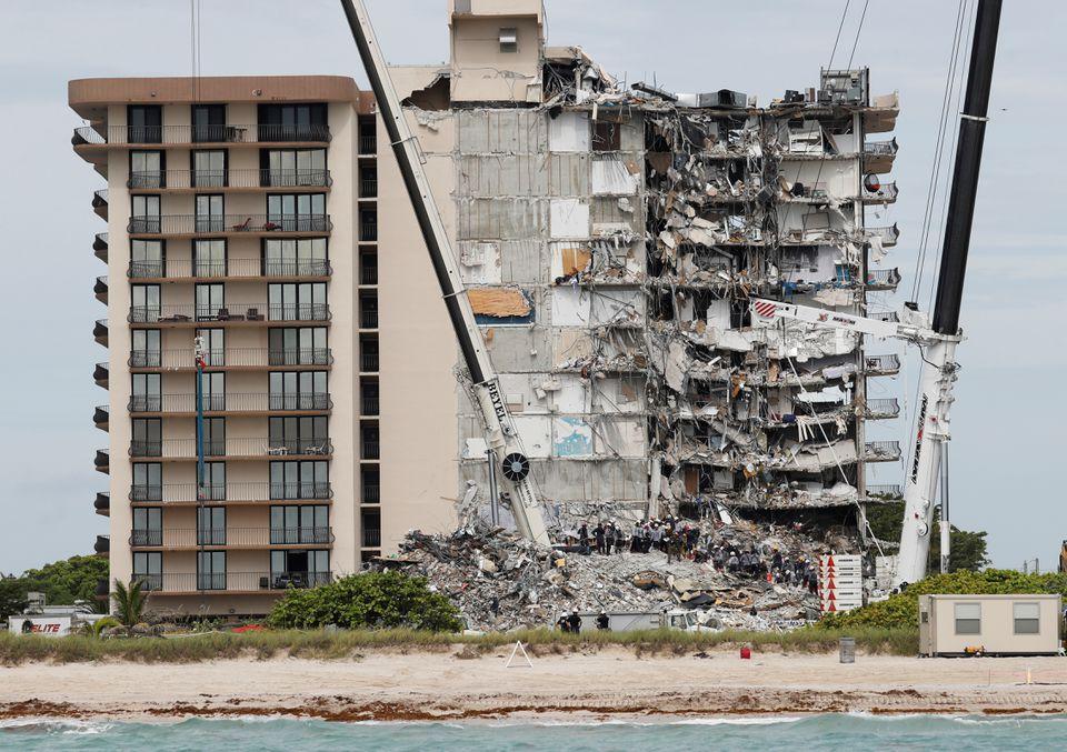 Partially collapsed condo building
