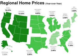 Price increases by region