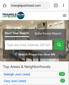 triangle just listed mobile search