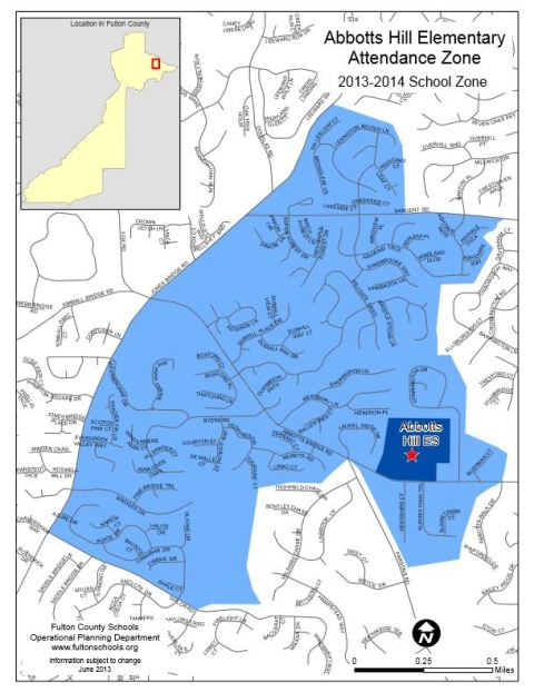 Abbotts Hill Attendance Zone 2013 2014 Map
