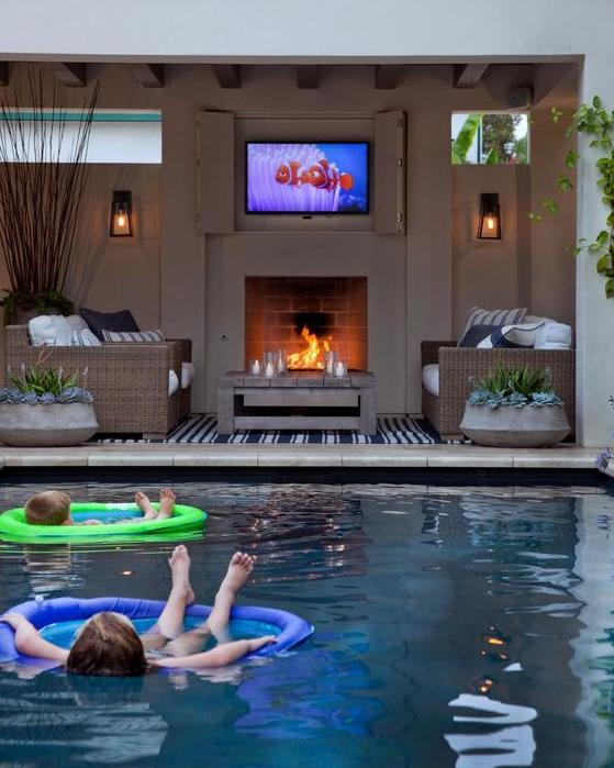 pool fireplace
