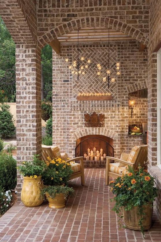 spanish brick fireplace