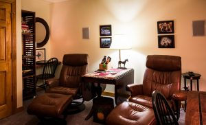 a media room is a great use of an extra room