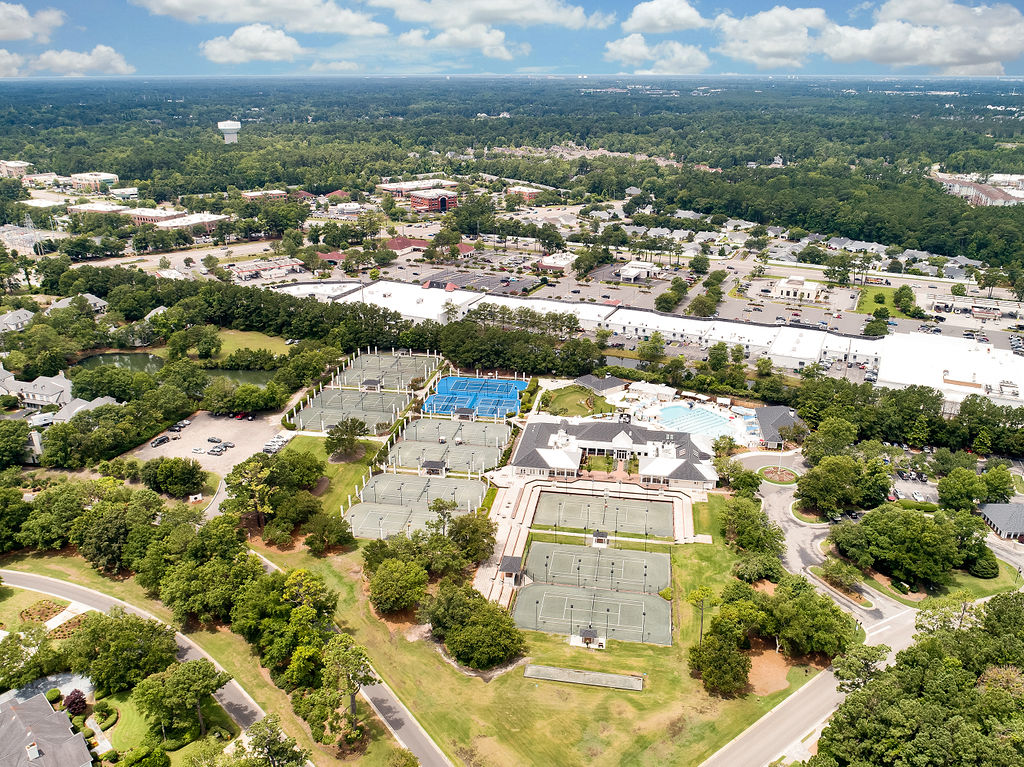 aerial view of landfall tennis and pool