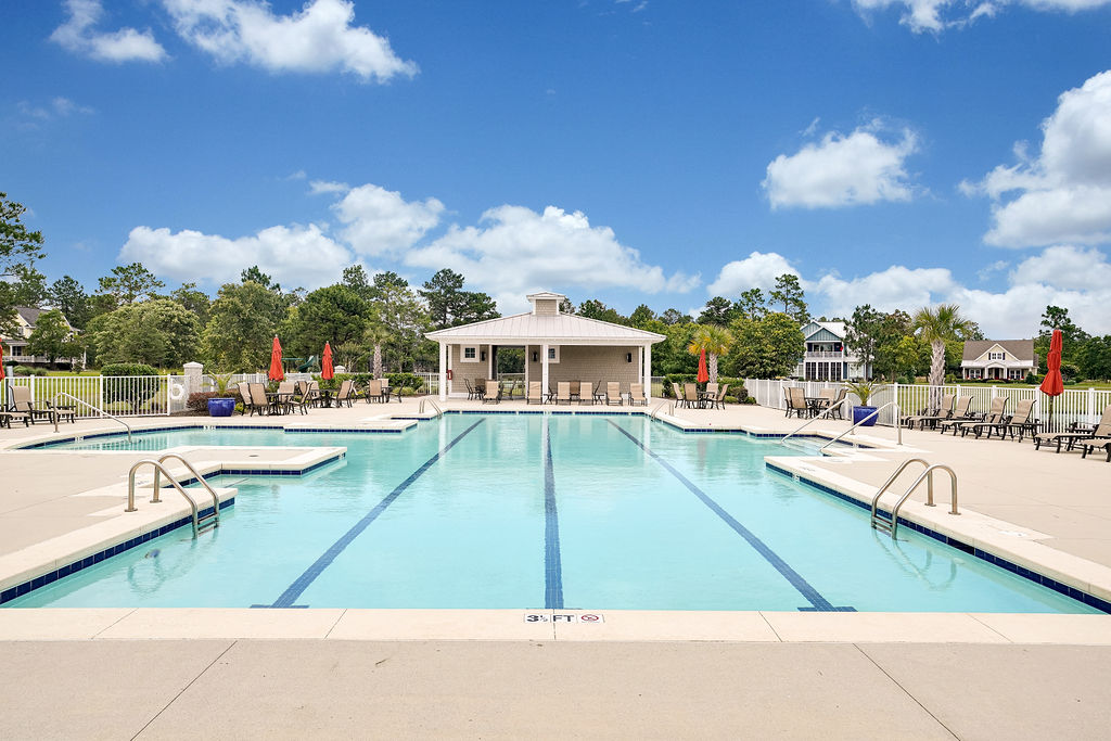 Pool and clubhouse in The Bluffs on the Cape Fear, a new home community near wilmington