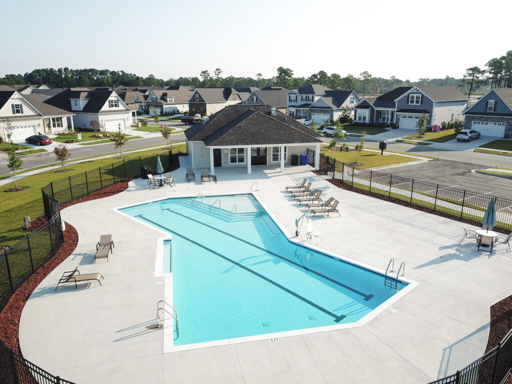 aerial view of Fortune Place pool and clubhouse