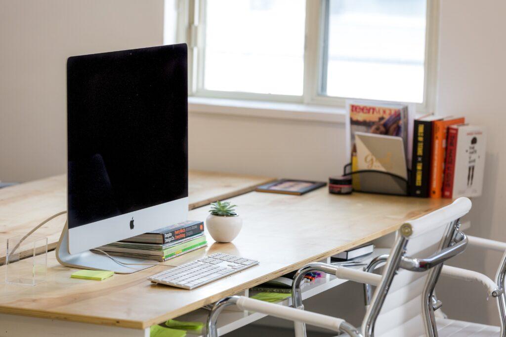 office desk in window light