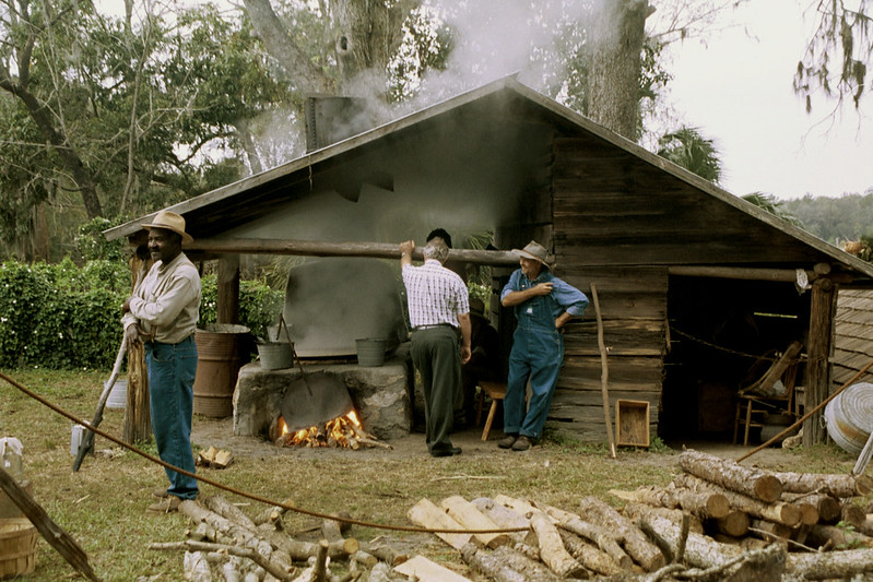 Making cane syrup at Dudley Farms in Newberry, Florida