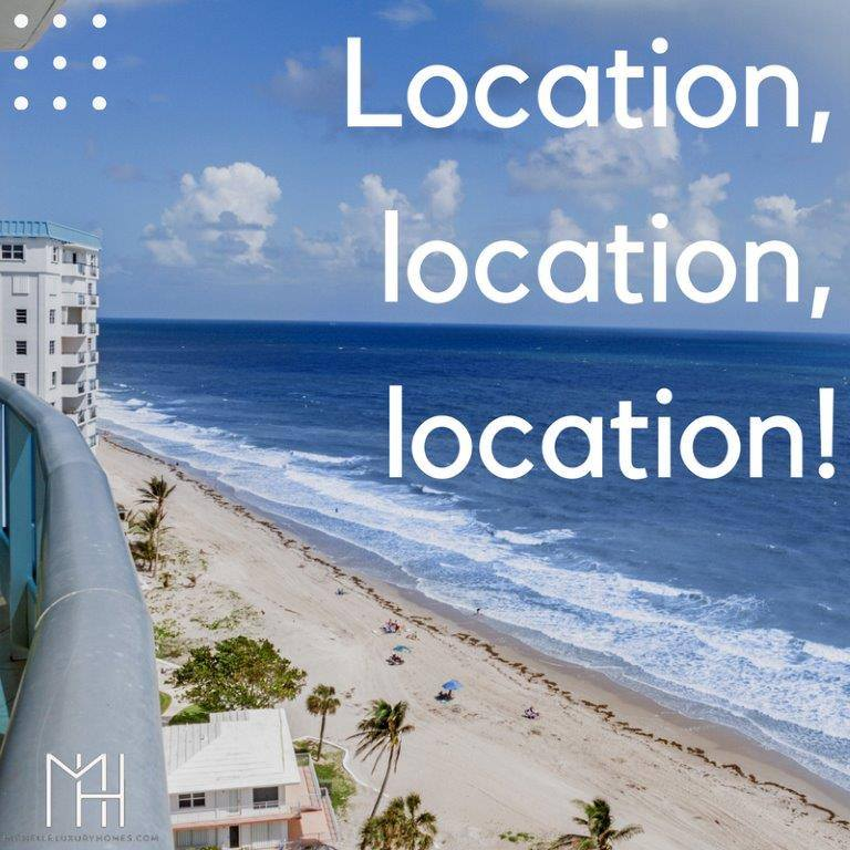 """Image depicts a beach scene front the vantage point of a high rise balcony with the words """"Location, location, location!"""""""