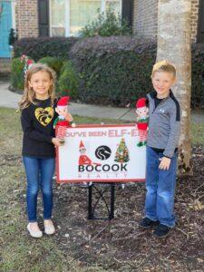 Children with Elf-ed Yard Sign