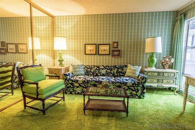 Living room vintage green condo