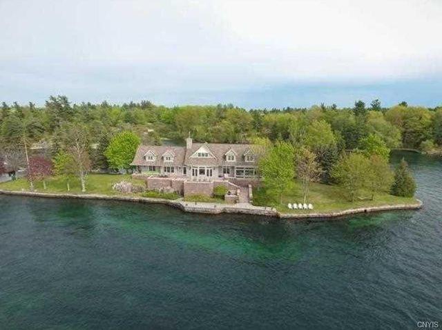 Alexandria Bay, NY island house overhead