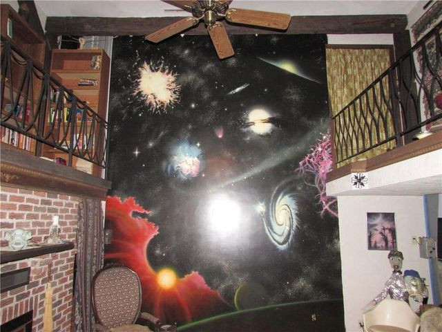 Living room space mural