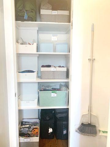 Organized linen cabinet