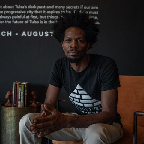 Ricco Wright, owner of the Black Wall Street Gallery in the Greenwood district of Tulsa, on Thursday.