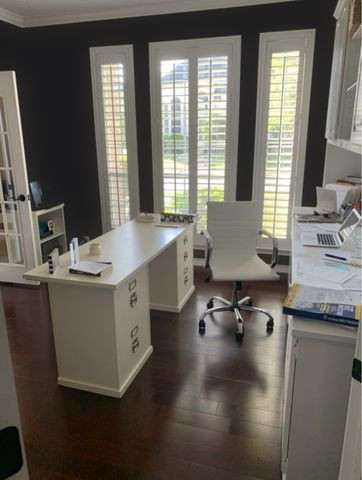 Office with black walls
