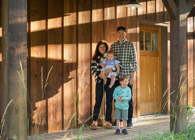 """Carter Westfall and his wife, Kate West, shown here with their children Keaton """"Keats"""" Westfall (9 months) and Shepard """"Shep"""" Westfall (3½ years), bought a house in Wilson, Wyo., near the Jackson Hole ski area in August."""
