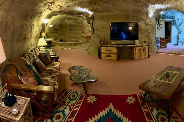 Interior of cave home in New Mexico