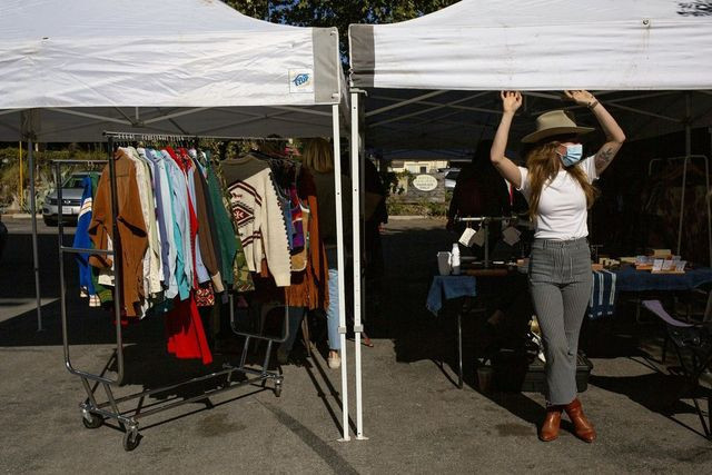 A pop-up market on Sunday in Austin, which has attracted new residents with comparatively warm weather and larger homes.
