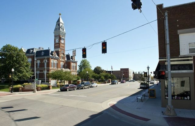 The Nodaway County Courthouse in Maryville, MO, stands at the center of the town's square.