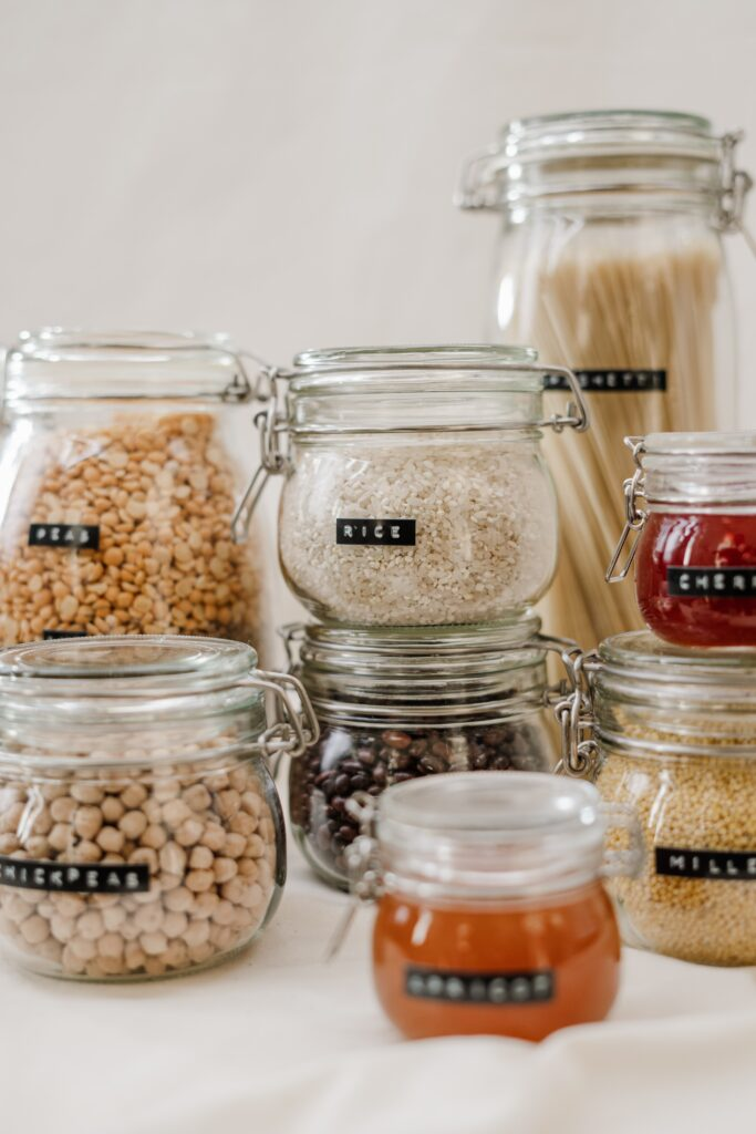 Food stored inside transparent containers.