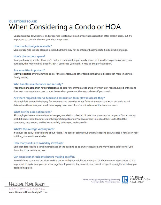 Condo HOA Considerations