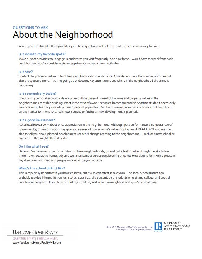 Choosing a Neighborhood