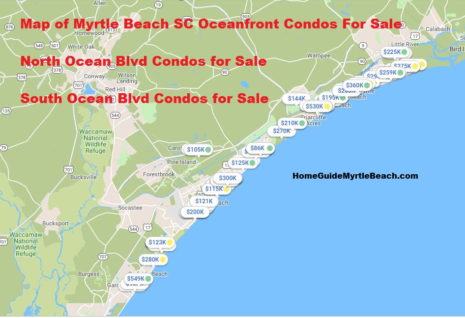 Myrtle Beach Oceanfront condos for sale map