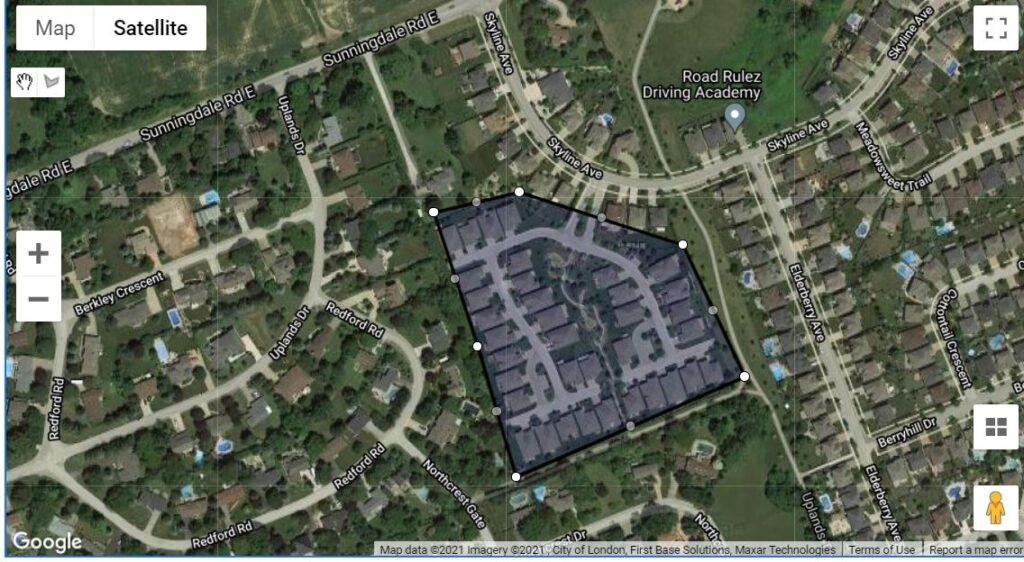 181 Skyline Ave London Ontario location map of town homes