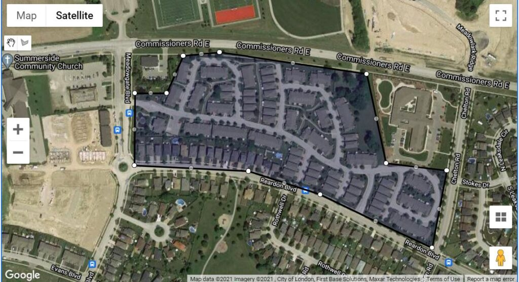 2025 Meadow Gate Blvd London Ontario map for location of the townhouses