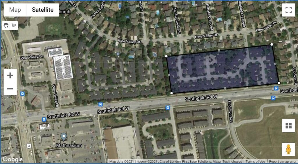 211 Pine Valley Drive London Ontario Townhouses location map