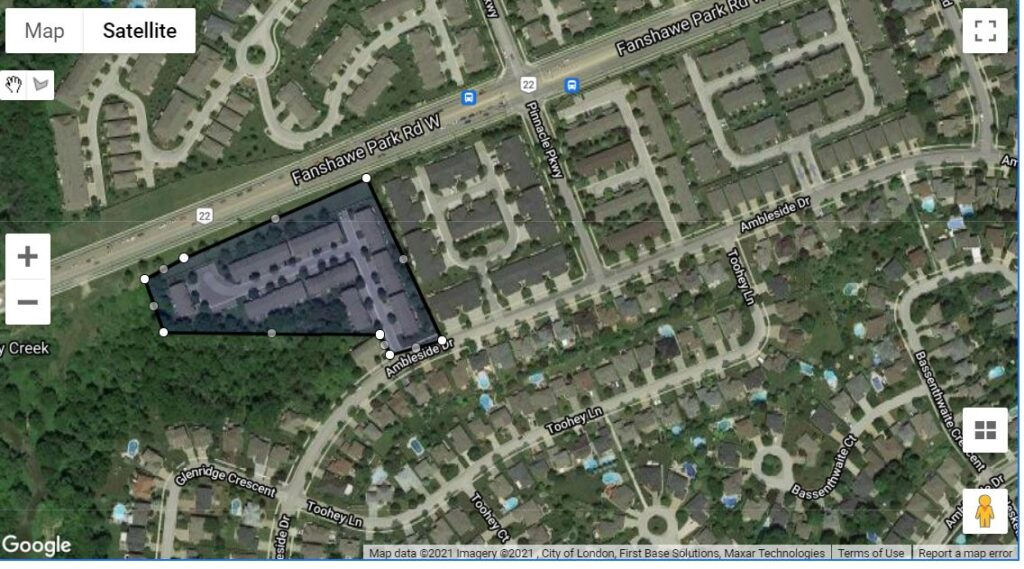 410 Ambleside Drive London Ontario Map location of the townhouse condos