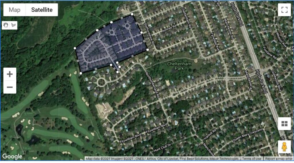 50 Northumberland Road London Ontario location map of these one floor townhomes butting on to the London Hunt Club Golf Course