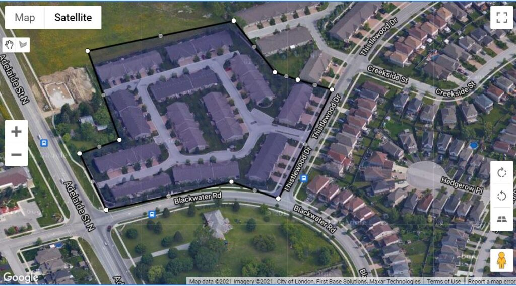 572 Thstlewood Drive London Ontario map of the location of these one floor townhomes