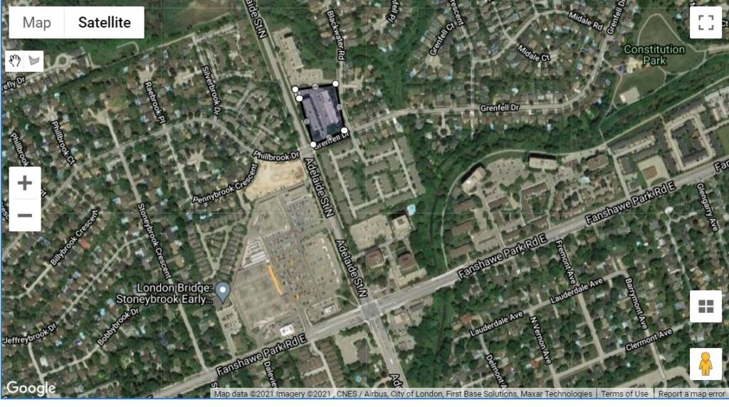 600 Grenfell Drive London Ontario location map of the apartment condos